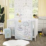 Disney Winnie The Pooh Hello Sunshine Multi-Colored Rainbow, Yellow Sun & Blue Clouds 3Piece Nursery Crib Bedding Set - Comfo
