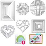 Die Cuts Cutting Dies Metal Square Rectangle Heart Round Flower Embossing Stencils Template Mould for Card Scrapbooking and D