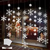 BTNOW 63 Pieces 4 Sizes White Christmas Snowflake Decorations Snowflake Ornaments Garland, 8 Meters White Strings and 60 Piec