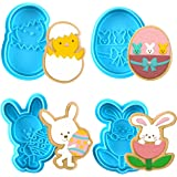 KAISHANE Easter Themed MINI Cookie Cutter Embossing Mold Fondant Stamper Set -4 Pcs Plastic spring die Biscuits Pastry Cutter