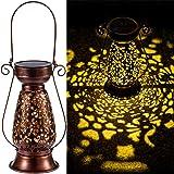 LeiDrail Solar Lantern Outdoor Decorative Hanging Lanterns Metal Light Warm White LED Waterproof Landscape Lighting for Garde