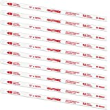 """HAUTMEC Hacksaw Replacement Blades BI-METAL (10 Pack) High Speed Steel Grounded Teeth 18 TPI x 12"""" Length 0.025"""" Thick x 1/2"""""""