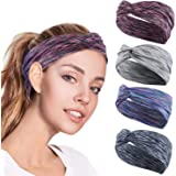 4PCS Women Workout Headband Lightweight Soft Wicking Stretchy Head Wrap Ideal for Sports/Yoga/Pilates/Dancing/Running/Cycling