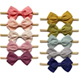 Baby Girl Super Soft Headbands and Linen Bows, Stretchy Nylon Hair bands For Newborn Infant Toddler