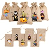 DIYASY 48 Pcs Halloween Burlap Gift Bags,Goodie Treat Bags with Drawstrings for Kids Halloween Party Favor.