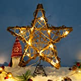 LAWOHO Christmas Tree Topper Star,10-inch Rustic Brown Rattan Natural with 10 Warm White Lights(Constant Light and Timer), Tr