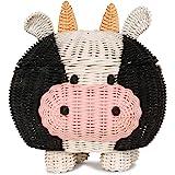 G6 COLLECTION Cow Rattan Storage Basket with Lid Decorative Bin Home Decor Hand Woven Shelf Organizer Cute Handmade Handcraft