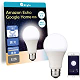 【Amazon Alexa認定】+Style スマートLED電球 E26 (調光・調色) 昼白色 電球色 LED電球 60W 810lm スマート 調光 調色 ハブ ブリッジ不要 日本メーカー製 Amazon Alexa/Google Home 対応