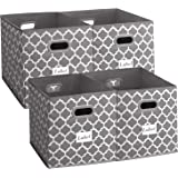 Homyfort Cloth Storage Bins,Foldable Basket Box Cubes containers Organizer for Closet Shelves Toys Clothes Set of 4 Gray with