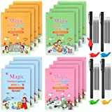 44 Pieces English Magic Practice Copybook Pen Set, Including 4 Styles Handwriting Copybooks with Pens Pen Clips and Refills,