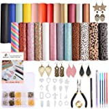 Dorhui Leather Earring Making Kits Include 24 Pieces Litchi and Glitter Faux Leather Sheet, and 180pcs Earring Hooks, 180pcs