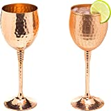 Copper wine glasses set of 2 – 11oz gleaming 100% solid hammered copper wine cups on brass copper plated stems – a perfect gi