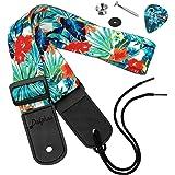 Dulphee Ukulele Strap Hawaiian Style Adjustable Uke Shoulder Strap for Soprano Concert Tenor Baritone Ukulele, Mandolin and B