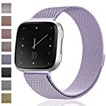 Maledan for Fitbit Versa Bands, Stainless Steel Milanese Loop Metal Mesh Bracelet with Magnet Lock, Replacement...