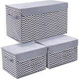 Joyoldelf Storage Bins with Lids, 3 Packs Cube Organizer Storage Bins for Closet Shelves Home Foldable Cloth Storage Cube wit