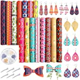 Caydo 15PCS Bohemian Style Faux Leather, Geometry Pattern PrintedLeather Sheets with Earring Hooks, Hair Clips for DIY Leath