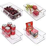 StorageWorks Small Stackable Fridge Organizer, Clear Plastic Organizer Bins for Pantry, Kitchen Storage Bins with Handles, Re