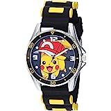 Pokemon Silver Tone Metal Analog-Quartz Watch with Rubber Strap, Black, 20.7 (Model: POK9010)