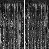 FECEDY 2pcs 3ft x 8ft Black Metallic Tinsel Foil Fringe Curtains Photo Booth Props for Birthday Wedding Engagement Bridal Sho
