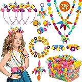 Kinfayv Pop Beads 750+PCS Jewelry Making Kit Toys for 3 4 5 6 7 8 Year Old Girls, Kids Pop Snap Beads Set to Make Hairband Ne