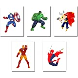 Superhero Watercolor Prints - Set of Five Photos (8.5 x 11)