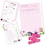 Baby Shower Games Pink Floral Set, 2 Games 30 Sheets Each 5x7 Inches, Tummy Measure Game with Tape Measure, Fun to Play, Baby