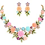 EVER FAITH Women's Austrian Crystal Simulated Pearl Rose Flower Leaf Necklace Pierced Earrings Set