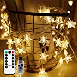 Briignite Star String Lights 100 LED 34FT Remote Control, LED Twinkle Lights Indoor Fairy Lights 8 Modes Warm White, USB Powe