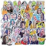 Singer Billie Eilish Stickers 53PCS,for Laptop,Water Bottles,Door,Window,Car,Motorcycle,Bicycle,Luggage,Skateboard Waterproof