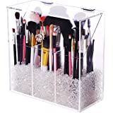 Covered Makeup Brush Holder with Dustproof Lid, Pearls Beads, Large Capacity Acrylic Clear Cosmetic Brush Storage Organizer f