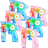 6 Pcs Bubble Gun Shooter LED Light up(no Batteries Needed), Wind up Operated Bubbles Blaster Blower with Bottle Solutions, Bu