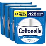 Cottonelle Ultra CleanCare Toilet Paper, Strong Bath Tissue, Biodegradable, Septic-Safe, 24 Mega Rolls