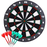 Theefun Dart Board Safety Set -16 Inch Rubber Dart Board with 6 Soft Tip Darts for Kids and Adults- Partys Office and Family
