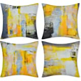 Yastouay Yellow Decorative Throw Pillow Covers Set of 4 Yellow Grey Pillow Cases Modern Accent Home Decor Cushion Covers for