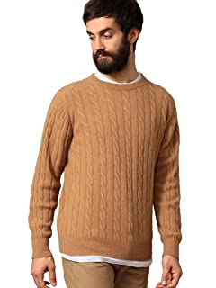 Cashmere Cable Crewneck Sweater 1213-105-3234: Brown