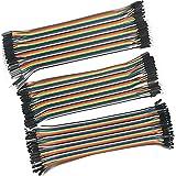 LANDZO 120pcs Multicolored 40pin Male to Female 40pin Male to Male 40pin Female to Female Breadboard Jumper Wires Ribbon Cabl