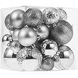Christmas Ornaments for Xmas Trees,Silver Shatterproof Christmas Ball Ornaments of 32 pcs
