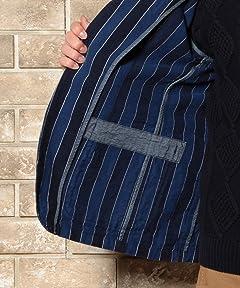 Indigo Stripe Denim Work Jacket 3225-199-1870: Navy