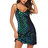 Womens Sequin Dress V Neck Party Cocktail Sparkle Glitter Evening Stretchy Mini Bodycon Dresses