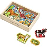Melissa & Doug Wooden Animal Magnets (Developmental Toys, Wooden Storage Case, 20 Animal-Inspired Magnets, 20.32 cm H x13.97