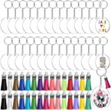 Acrylic Keychain Blanks, Audab 120pcs Clear Keychains for Vinyl Kit Including 30pcs Acrylic Blanks, 30pcs Keychain Tassels, 3