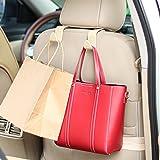 Universal Multifunctional Car Vehicle Headrest Hook, Organizer Hanger Storage Hook for Bag Purse Cloth Grocery (Beige Set of