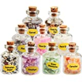EndlessMeditation Mini Gemstone Bottles Wicca Chip Crystals,Healing Tumbled Gem Reiki Stones Set 9 Pcs