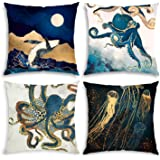 QoGoer Ocean Animal Theme Decorative Throw Pillow Covers 18 x 18 Set of 4, Vintage Style Sea Octopus Square Cushion Cover Pil