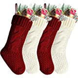 (Length 36cm Pack of 4, Red and White) - Pack 4, Unique Burgundy and Ivory White Knit Christmas Stockings 36cm