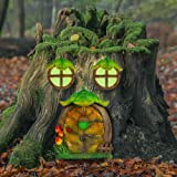 Juegoal Miniature Fairy Gnome Home Window and Door for Trees Decoration, Leave Shape Glow in Dark Fairies Sleeping Door and W