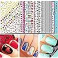 TailaiMei Christmas Nail Decals Stickers, 655 Pcs Self-adhesive Tips and 7 Sets Full Wrap DIY Nail Art Stencil with 1 Nail Bu