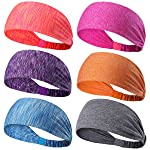 6 Pack Dreamlover Yoga Sports Headband, Women's Elastic Athletic Hairband, Men's Sweatband, Lightweight Working out...