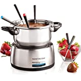 Nostalgia FPS200 6-Cup Stainless Steel Electric Fondue Pot with Temperature Control, 6 Color-Coded Forks and Removable Pot -