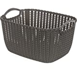HOUZE Braided Storage Basket with Handle, Brown, Medium